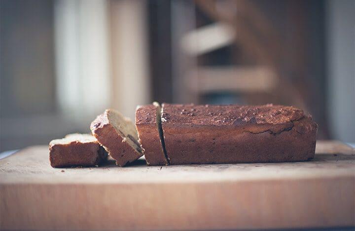Banana quark bread being sliced