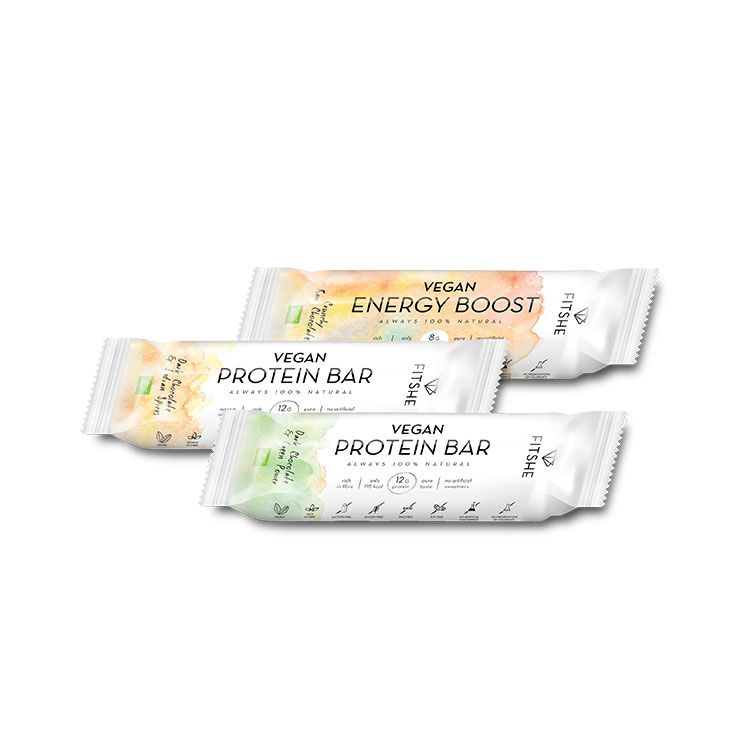 Three flavours FITSHE vegan bars