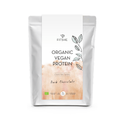 FITSHE organic vegan protein dark chocolate