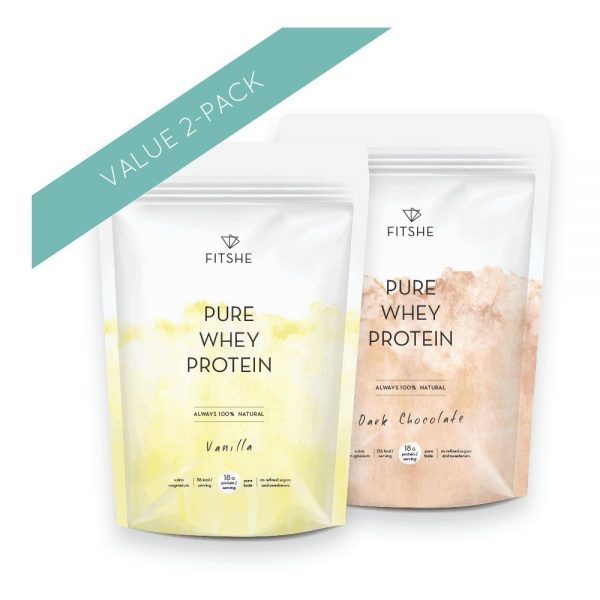 FITSHE combipack pure whey protein vanilla & dark chocolate productimage