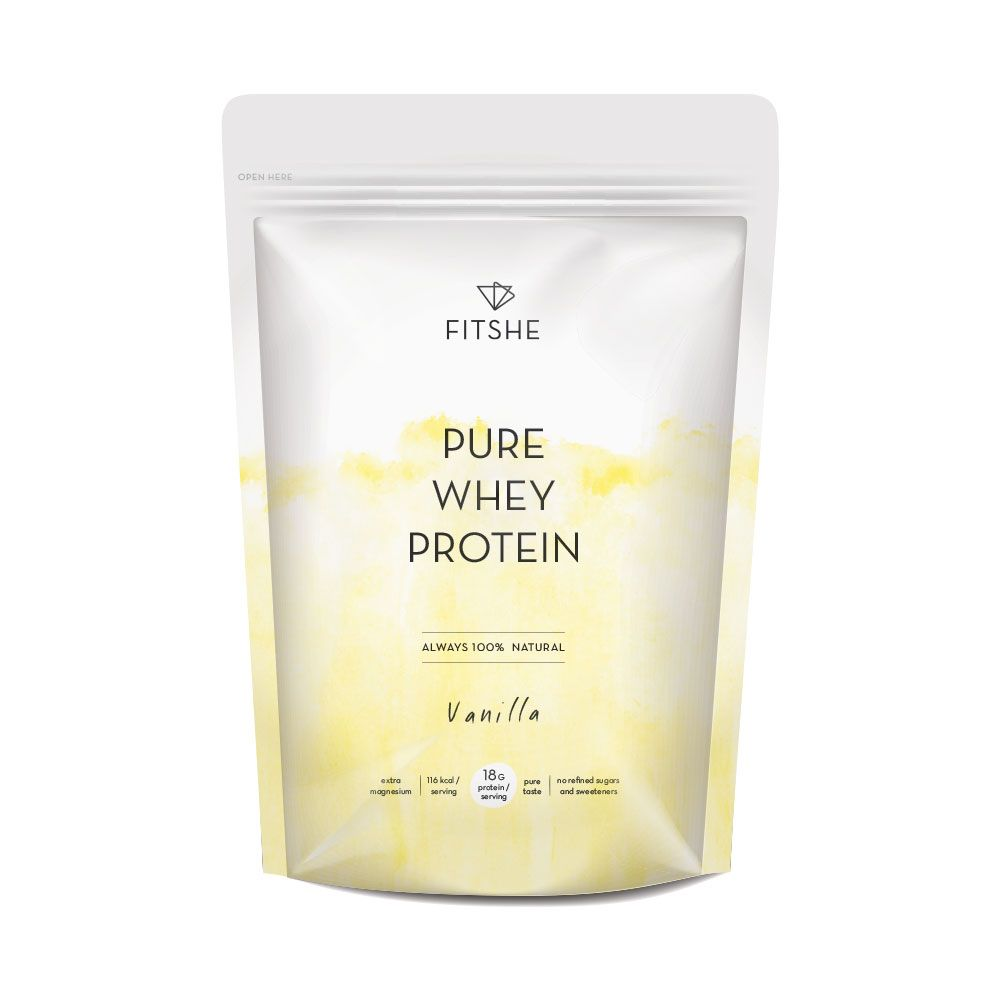 FITSHE pure whey protein vanilla pouch productimage