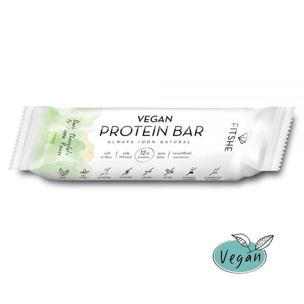 FITSHE vegan protein bar dark chocolate & green power productimage